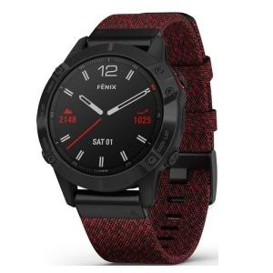 Garmin Fenix 6 Black DLC with Heathered Red Nylon Band 010-02158-65